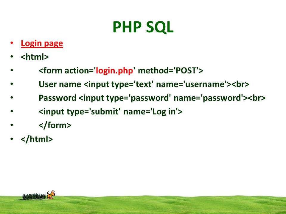 PHP SQL Login page User name Password