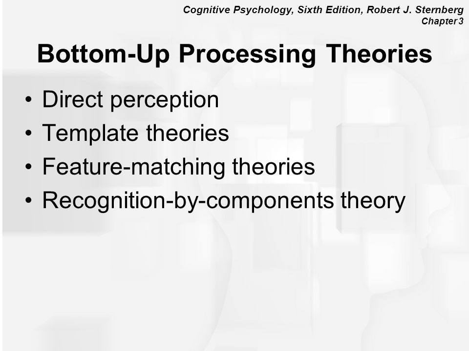 Cognitive Psychology, Sixth Edition, Robert J. Sternberg Chapter 3 Bottom-Up Processing Theories Direct perception Template theories Feature-matching