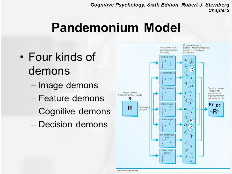 Cognitive Psychology, Sixth Edition, Robert J. Sternberg Chapter 3 Pandemonium Model Four kinds of demons –Image demons –Feature demons –Cognitive dem