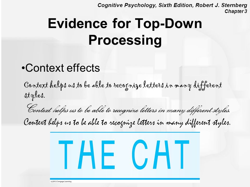 Cognitive Psychology, Sixth Edition, Robert J. Sternberg Chapter 3 Context effects Evidence for Top-Down Processing