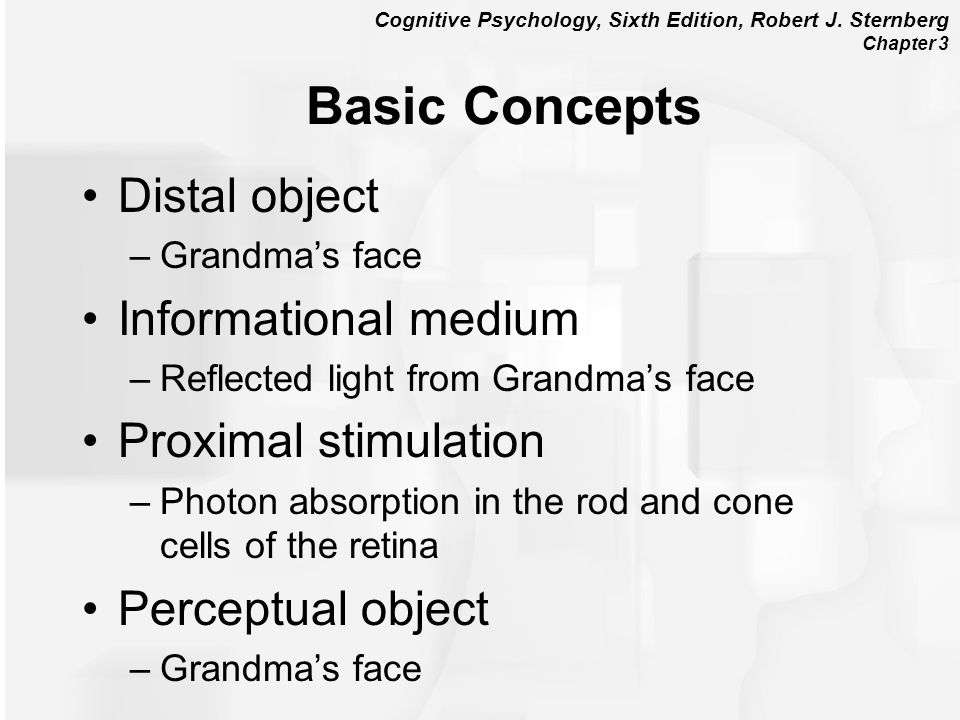 Cognitive Psychology, Sixth Edition, Robert J. Sternberg Chapter 3 Basic Concepts Distal object –Grandmas face Informational medium –Reflected light f