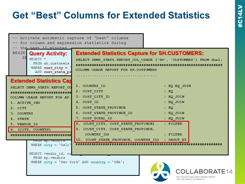 Get Best Columns for Extended Statistics -- Activate automatic capture of best columns -- for column and expression statistics during -- the next 15 minutes BEGIN DBMS_STATS.SEED_COL_USAGE( sqlset_name => NULL,owner_name => NULL,time_limit => 90 ); END; / Query Activity: SELECT * FROM sh.customers cust_city = WHERE cust_city = San Jose cust_state_province AND cust_state_province = CA country_id = AND country_id = 52790; SELECT * FROM sh.customers cust_city = WHERE cust_city = San Jose cust_state_province = AND cust_state_province = CA AND country_id = 52790; SELECT country_id, cust_state_province, COUNT(cust_city) FROM sh.customers GROUP BY country_id, cust_state_province ORDER BY country_id, cust_state_province; SELECT vendor_id, credit_card, credit_limit FROM ap.vendors city =country = WHERE city = Oslo AND country = Norway ; SELECT vendor_id, credit_card, credit_limit FROM ap.vendors city =country = WHERE city = New York AND country = USA ; Extended Statistics Capture for AP.VENDORS: SELECT DBMS_STATS.REPORT_COL_USAGE (AP , VENDORS ) FROM dual; ################################################################# COLUMN USAGE REPORT FOR AP.VENDORS 1.
