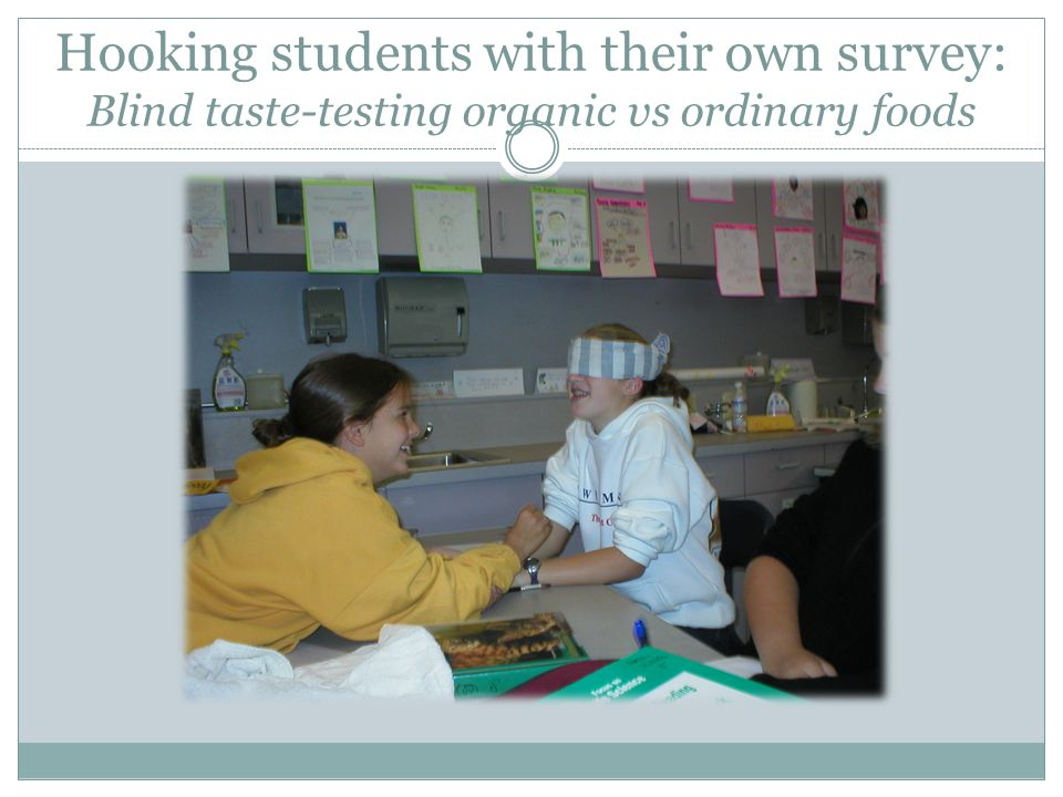 Hooking students with their own survey: Blind taste-testing organic vs ordinary foods