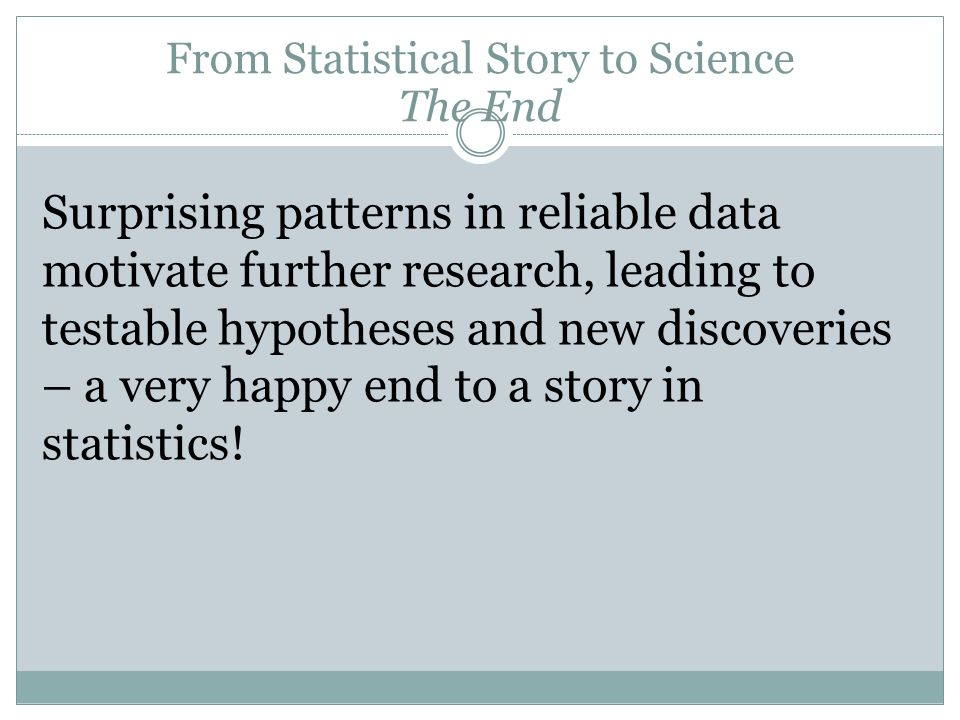 Surprising patterns in reliable data motivate further research, leading to testable hypotheses and new discoveries – a very happy end to a story in st