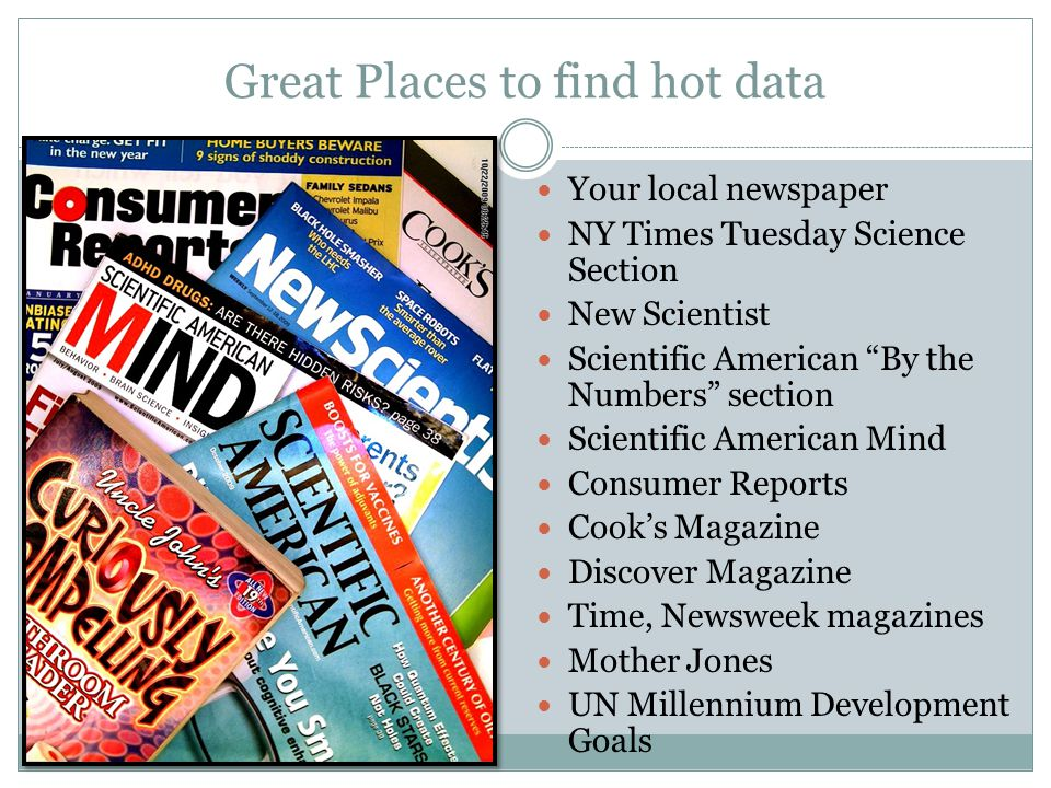 Great Places to find hot data Your local newspaper NY Times Tuesday Science Section New Scientist Scientific American By the Numbers section Scientifi