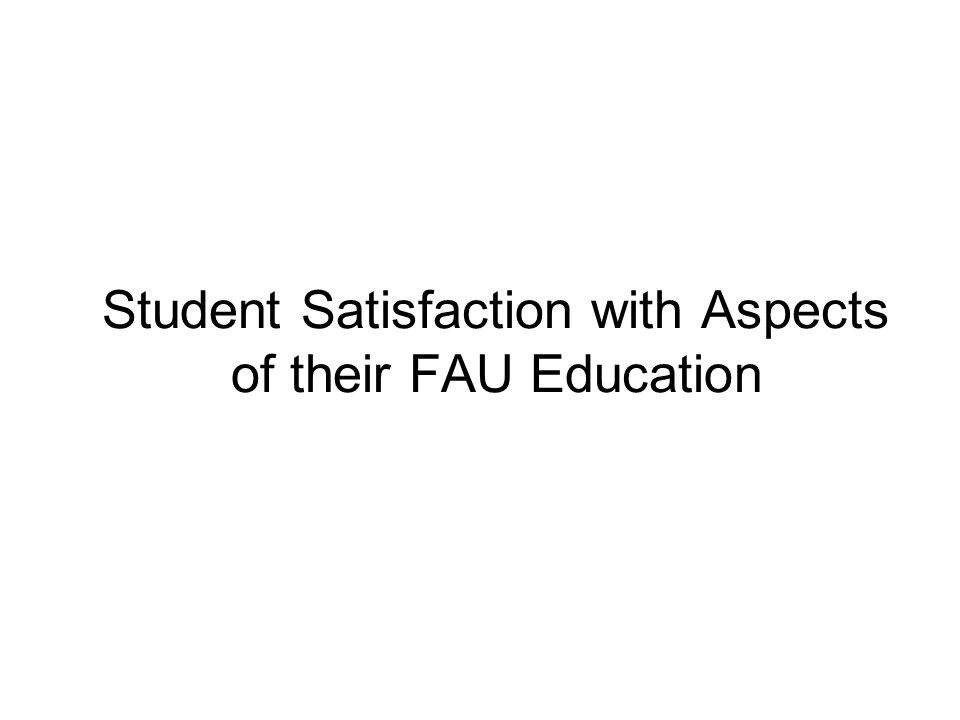 Student Satisfaction with Aspects of their FAU Education