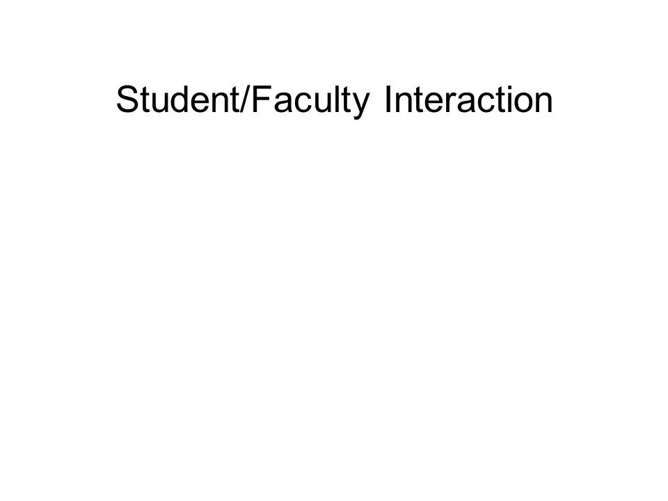 Student/Faculty Interaction