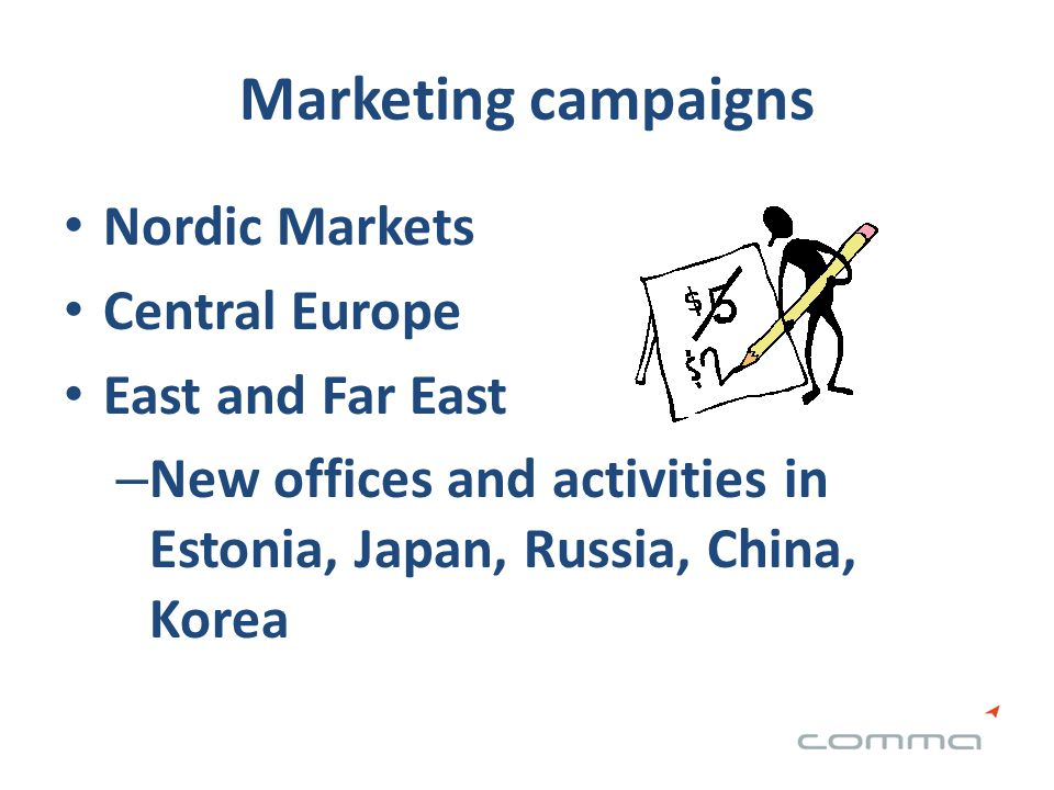 Marketing campaigns Nordic Markets Central Europe East and Far East – New offices and activities in Estonia, Japan, Russia, China, Korea