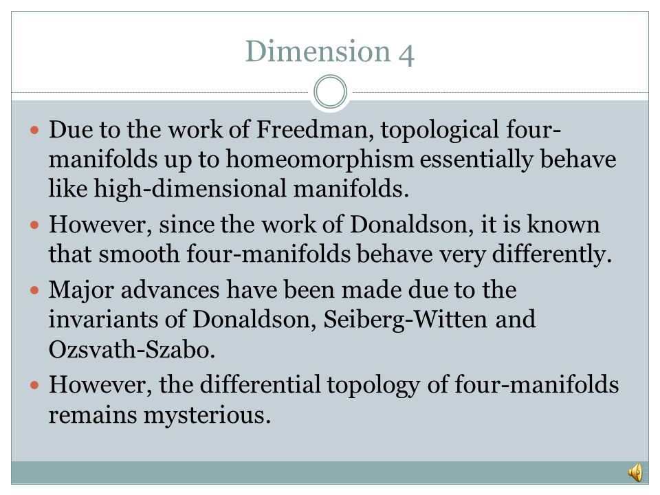 Dimensions 2 and 3 In dimensions 2 and 3, topology is related to geometric structures.