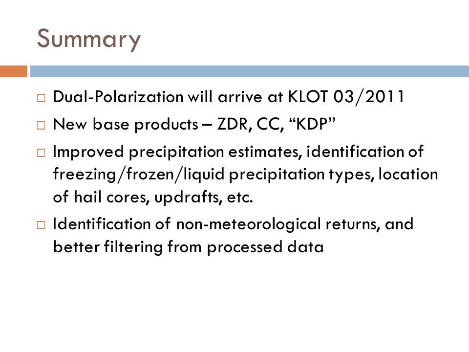 Summary Dual-Polarization will arrive at KLOT 03/2011 New base products – ZDR, CC, KDP Improved precipitation estimates, identification of freezing/fr