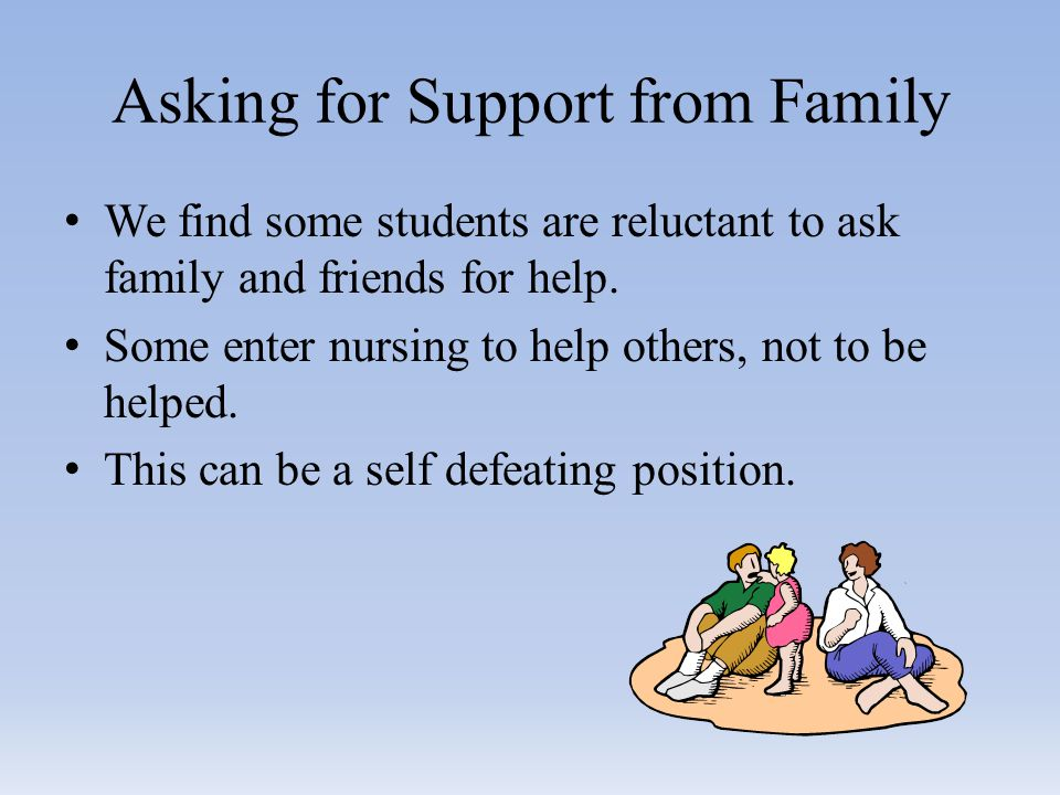Asking for Support from Family We find some students are reluctant to ask family and friends for help.