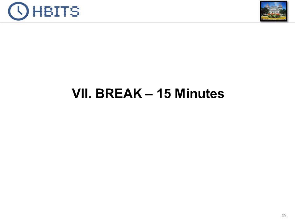 29 VII. BREAK – 15 Minutes