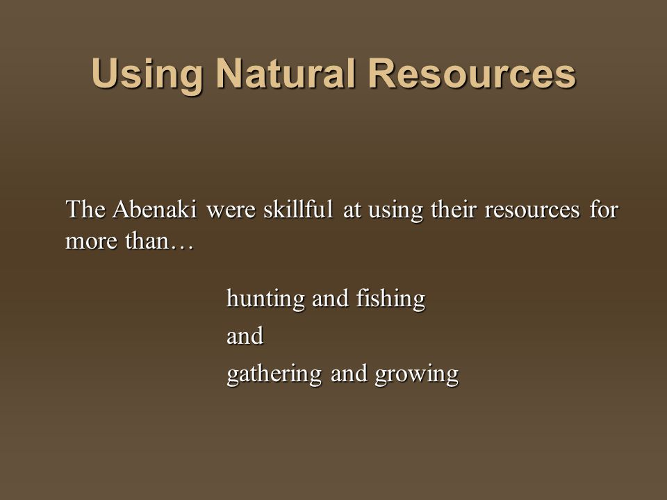 Using Natural Resources The Abenaki were skillful at using their resources for more than… hunting and fishing and gathering and growing