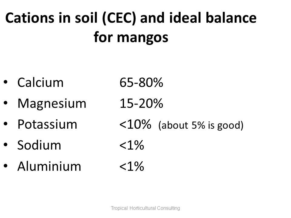 Cations in soil (CEC) and ideal balance for mangos Calcium65-80% Magnesium15-20% Potassium<10% (about 5% is good) Sodium<1% Aluminium<1%