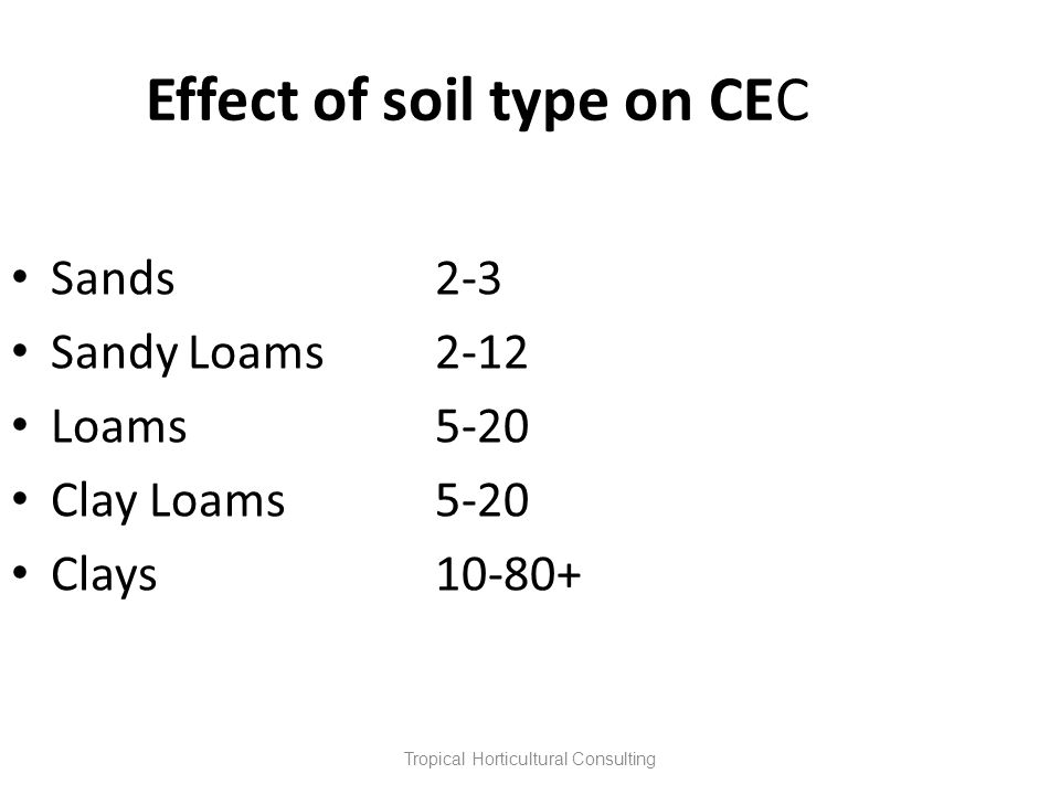 Tropical Horticultural Consulting Effect of soil type on CEC Sands2-3 Sandy Loams2-12 Loams5-20 Clay Loams5-20 Clays10-80+