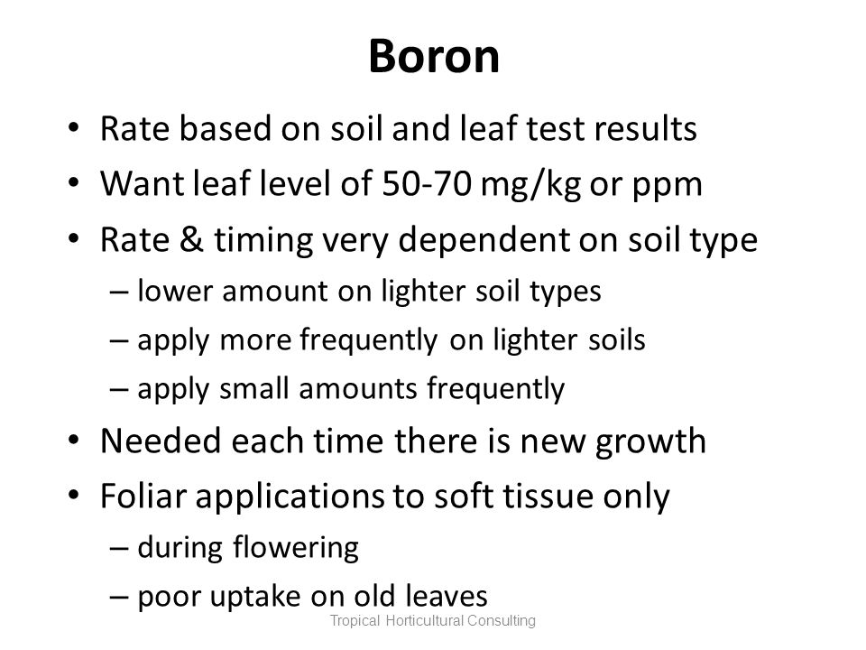 Boron Rate based on soil and leaf test results Want leaf level of 50-70 mg/kg or ppm Rate & timing very dependent on soil type – lower amount on light