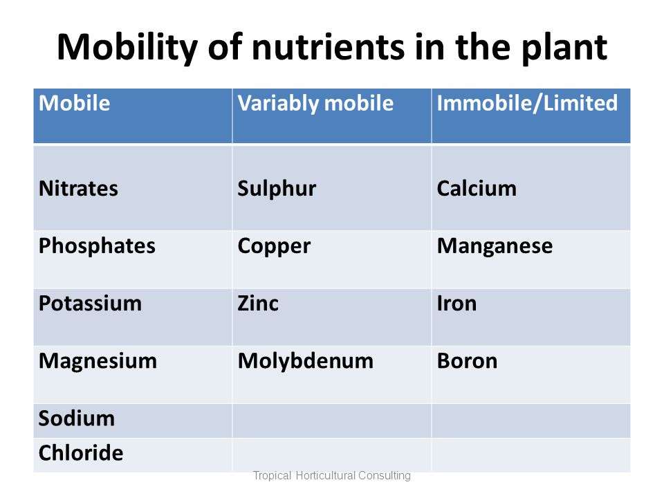 Mobility of nutrients in the plant MobileVariably mobileImmobile/Limited NitratesSulphurCalcium PhosphatesCopperManganese PotassiumZincIron MagnesiumM