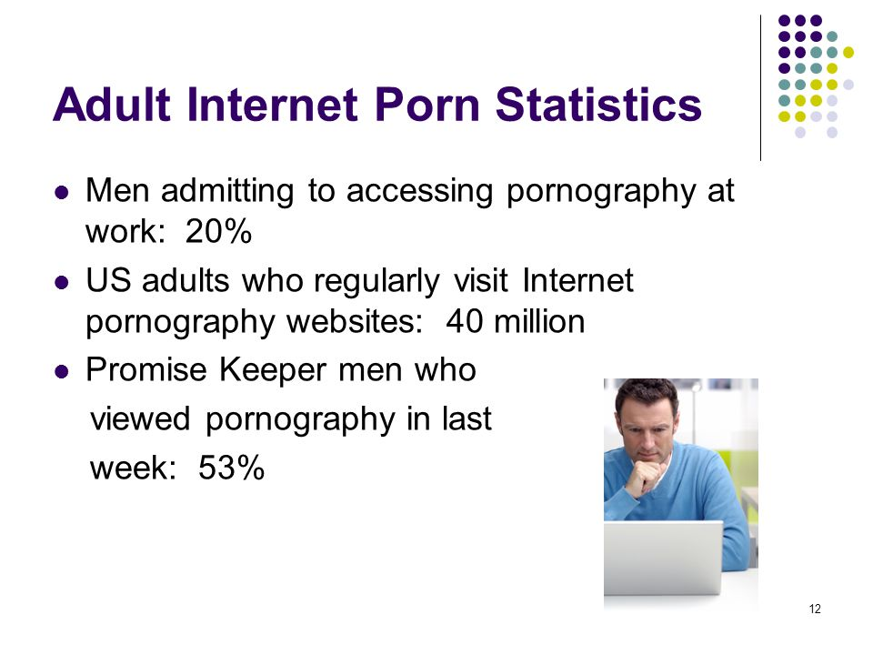 12 Adult Internet Porn Statistics Men admitting to accessing pornography at work: 20% US adults who regularly visit Internet pornography websites: 40