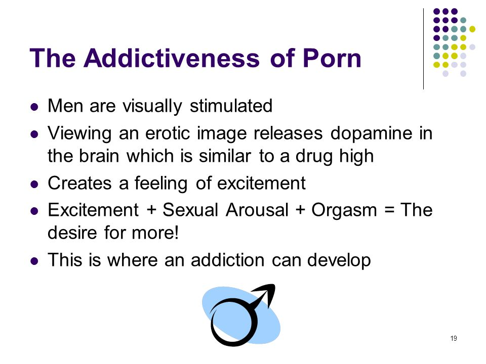 19 The Addictiveness of Porn Men are visually stimulated Viewing an erotic image releases dopamine in the brain which is similar to a drug high Create