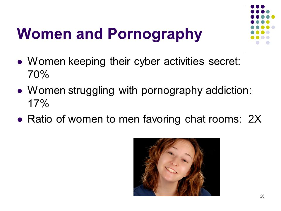 28 Women and Pornography Women keeping their cyber activities secret: 70% Women struggling with pornography addiction: 17% Ratio of women to men favor