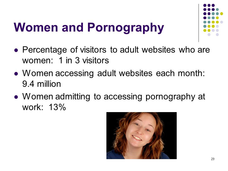 29 Women and Pornography Percentage of visitors to adult websites who are women: 1 in 3 visitors Women accessing adult websites each month: 9.4 millio