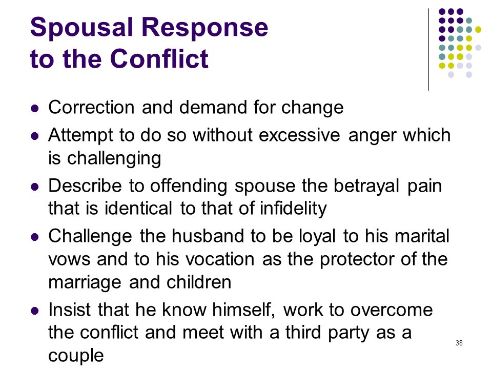 38 Spousal Response to the Conflict Correction and demand for change Attempt to do so without excessive anger which is challenging Describe to offendi