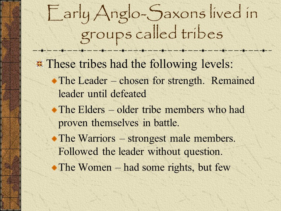 Early Anglo-Saxons lived in groups called tribes These tribes had the following levels: The Leader – chosen for strength. Remained leader until defeat