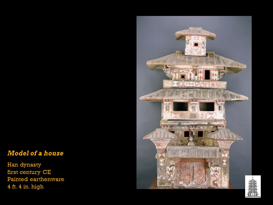 Model of a house Han dynasty first century CE Painted earthenware 4 ft. 4 in. high