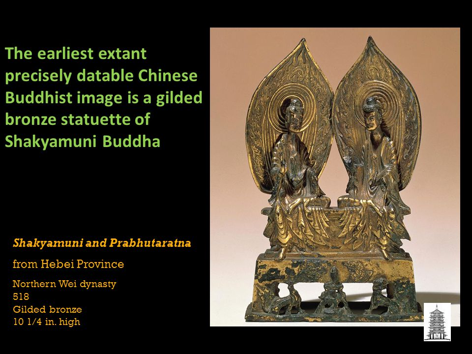 Shakyamuni and Prabhutaratna from Hebei Province Northern Wei dynasty 518 Gilded bronze 10 1/4 in.