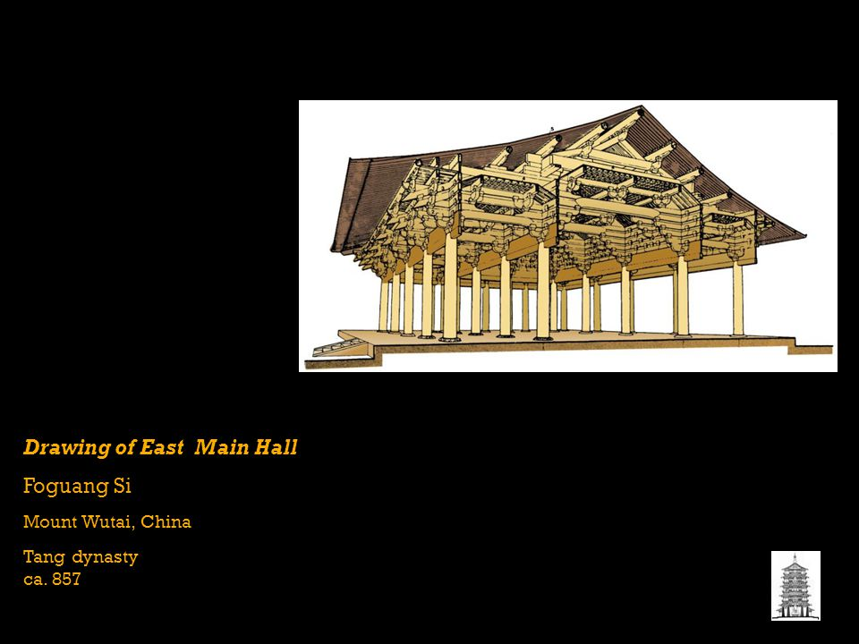 Drawing of East Main Hall Foguang Si Mount Wutai, China Tang dynasty ca. 857