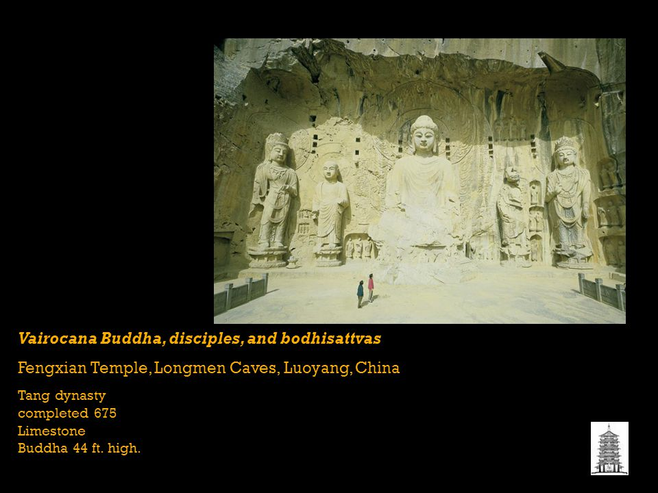 Vairocana Buddha, disciples, and bodhisattvas Fengxian Temple, Longmen Caves, Luoyang, China Tang dynasty completed 675 Limestone Buddha 44 ft.