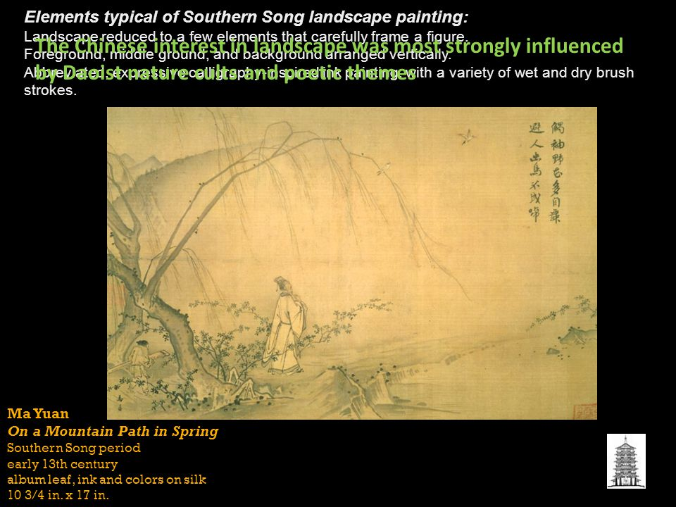 Ma Yuan On a Mountain Path in Spring Southern Song period early 13th century album leaf, ink and colors on silk 10 3/4 in.