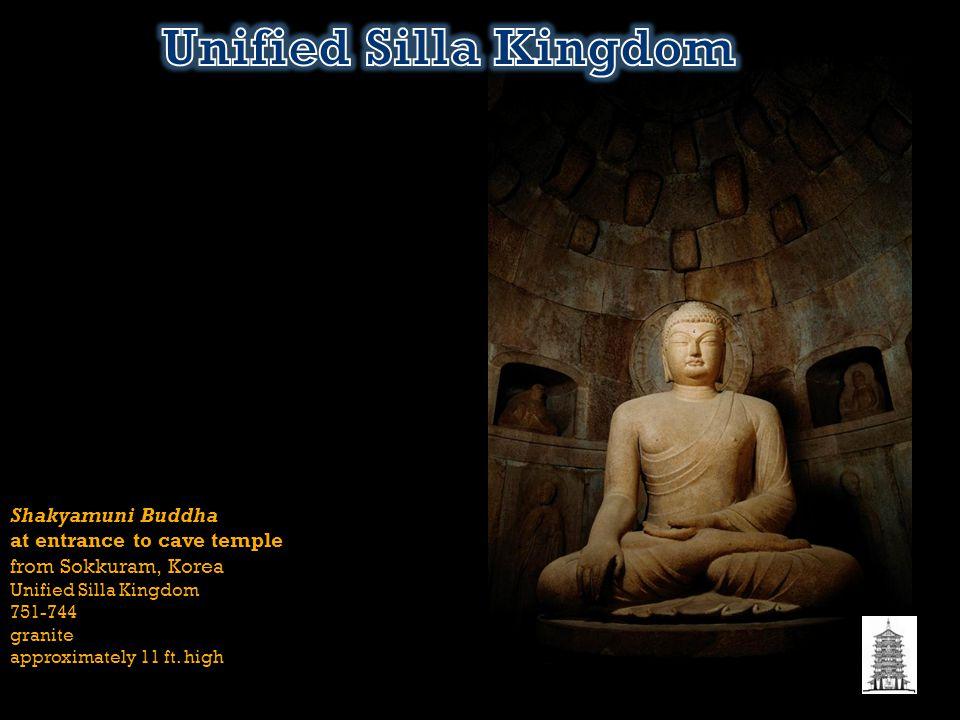 Shakyamuni Buddha at entrance to cave temple from Sokkuram, Korea Unified Silla Kingdom 751-744 granite approximately 11 ft. high