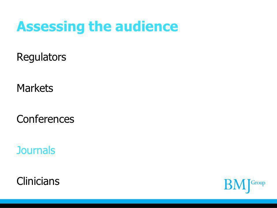 Assessing the audience Regulators Markets Conferences Journals Clinicians
