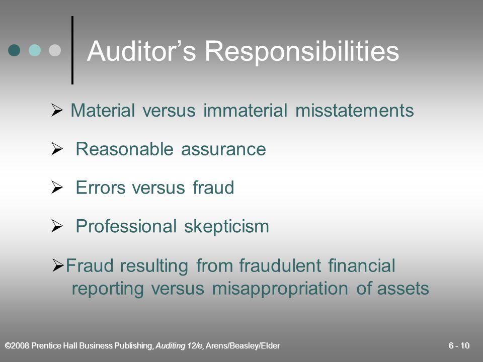 ©2008 Prentice Hall Business Publishing, Auditing 12/e, Arens/Beasley/Elder 6 - 10 Auditors Responsibilities Material versus immaterial misstatements