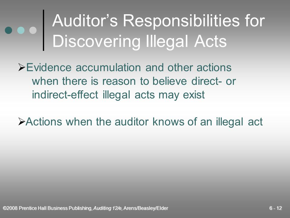 ©2008 Prentice Hall Business Publishing, Auditing 12/e, Arens/Beasley/Elder 6 - 12 Auditors Responsibilities for Discovering Illegal Acts Evidence acc