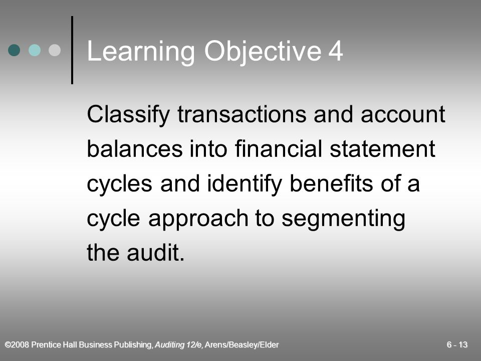©2008 Prentice Hall Business Publishing, Auditing 12/e, Arens/Beasley/Elder 6 - 13 Learning Objective 4 Classify transactions and account balances int
