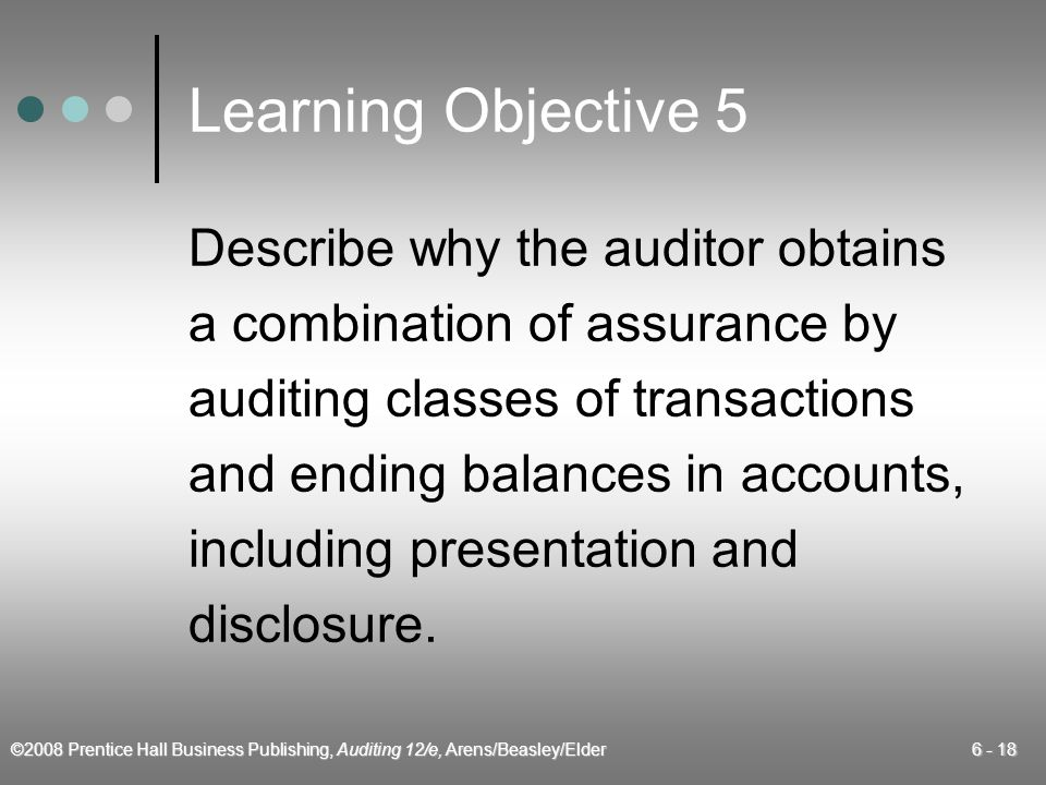©2008 Prentice Hall Business Publishing, Auditing 12/e, Arens/Beasley/Elder 6 - 18 Learning Objective 5 Describe why the auditor obtains a combination