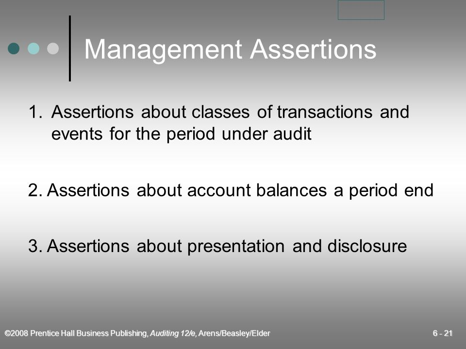 ©2008 Prentice Hall Business Publishing, Auditing 12/e, Arens/Beasley/Elder 6 - 21 Management Assertions 1.Assertions about classes of transactions an