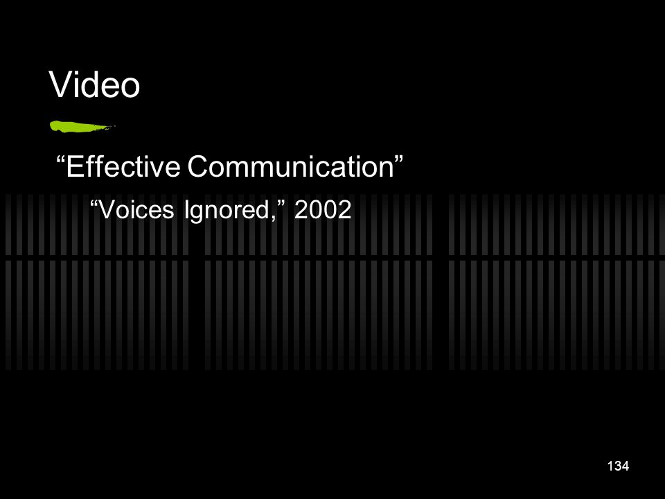 134 Video Effective Communication Voices Ignored, 2002