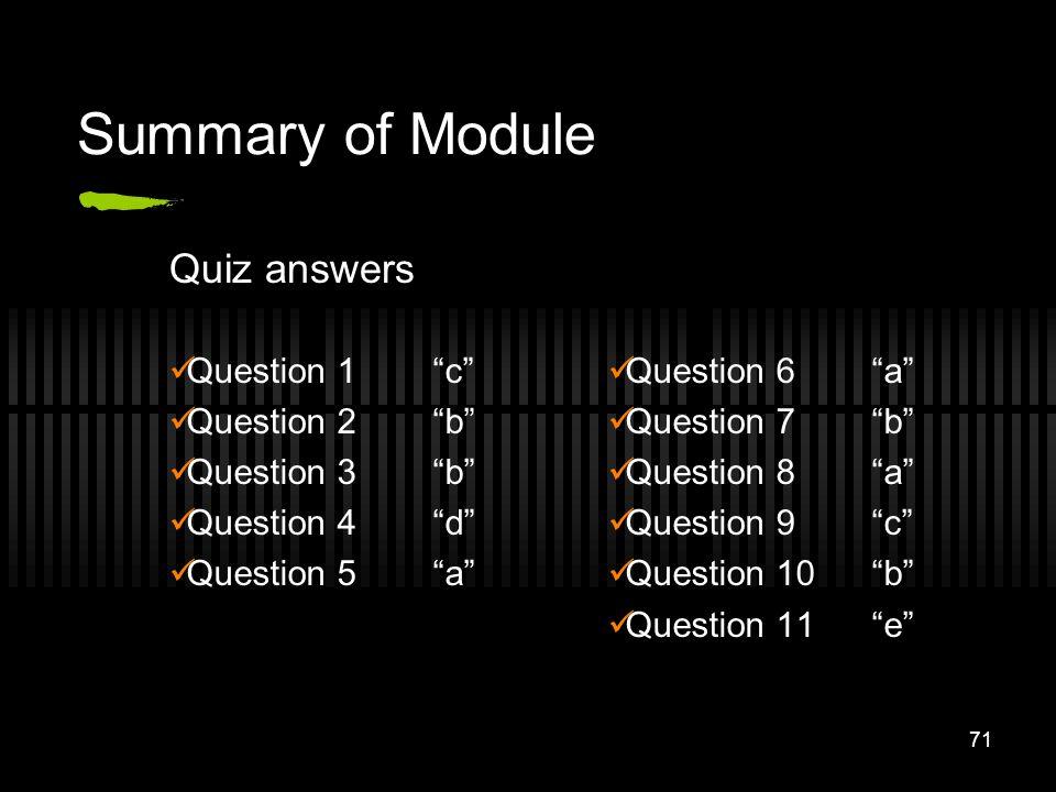 71 Summary of Module Question 1c Question 2b Question 3b Question 4d Question 5a Question 6a Question 7b Question 8a Question 9c Question 10b Question