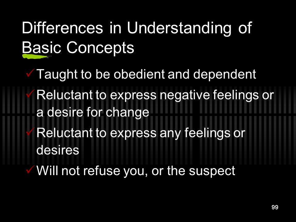 99 Differences in Understanding of Basic Concepts Taught to be obedient and dependent Reluctant to express negative feelings or a desire for change Re