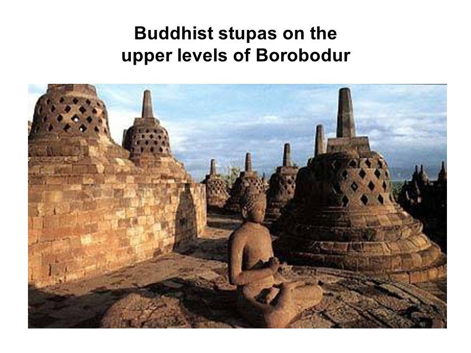 Buddhist stupas on the upper levels of Borobodur