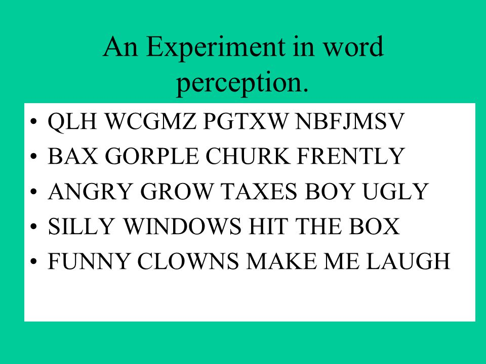 An Experiment in word perception.