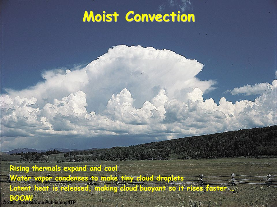 Moist Convection Rising thermals expand and cool Water vapor condenses to make tiny cloud droplets Latent heat is released, making cloud buoyant so it