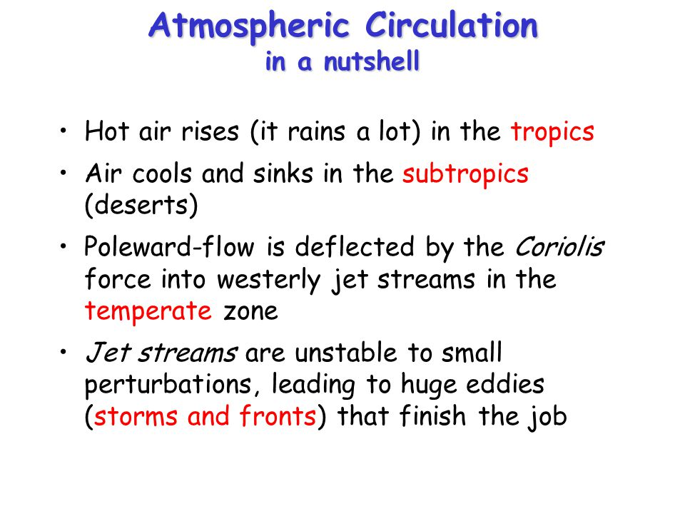 Atmospheric Circulation in a nutshell Hot air rises (it rains a lot) in the tropics Air cools and sinks in the subtropics (deserts) Poleward-flow is d