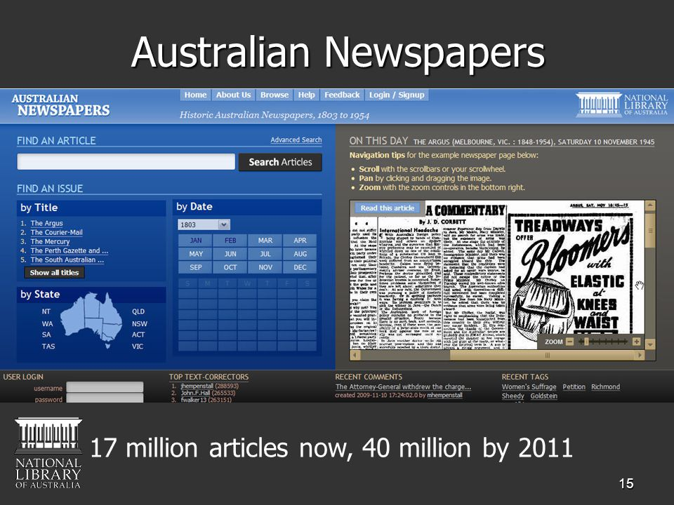 15 Australian Newspapers 17 million articles now, 40 million by 2011