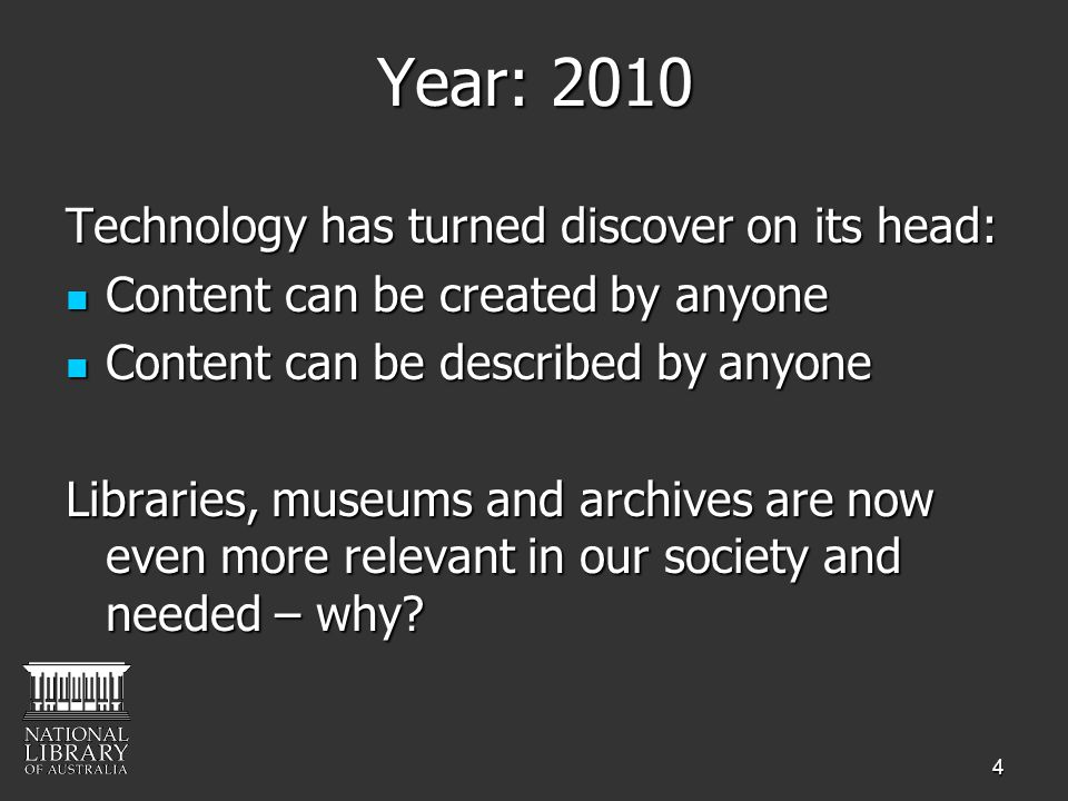 4 Year: 2010 Technology has turned discover on its head: Content can be created by anyone Content can be created by anyone Content can be described by
