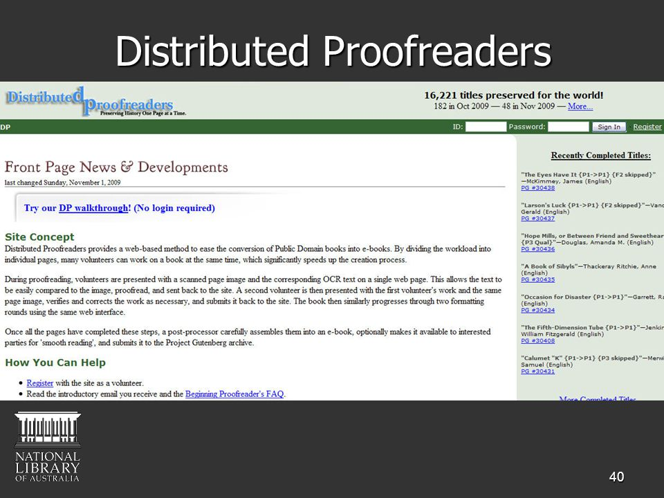 40 Distributed Proofreaders