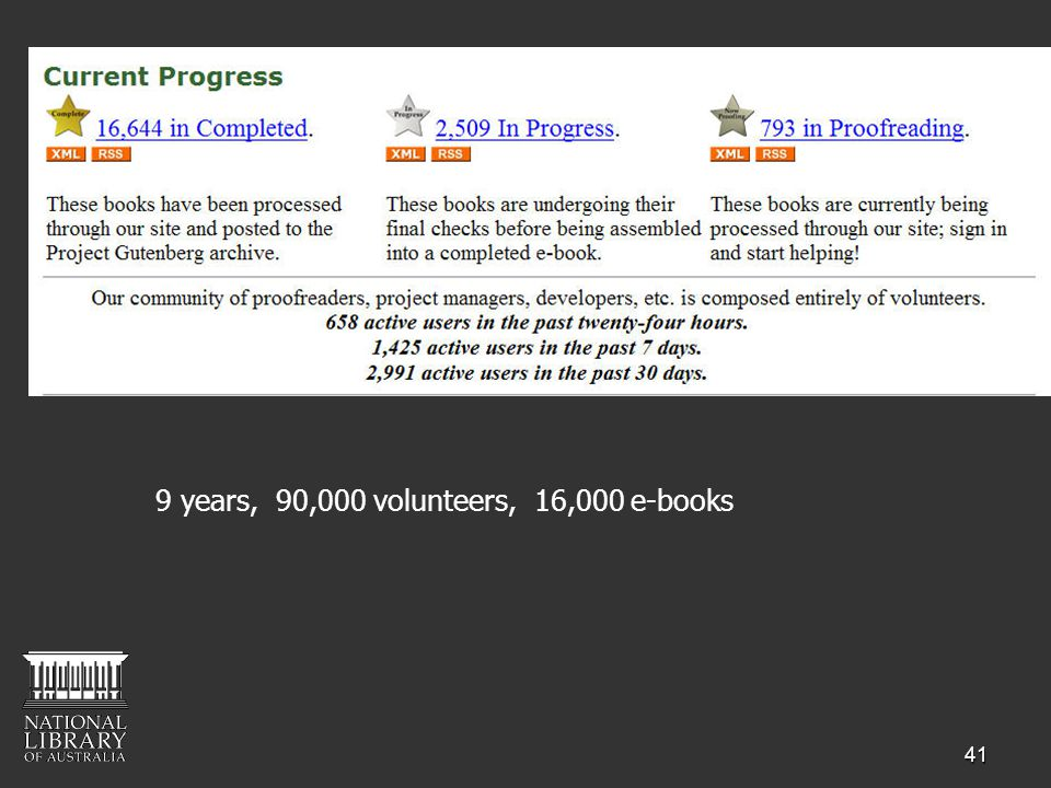 41 9 years, 90,000 volunteers, 16,000 e-books